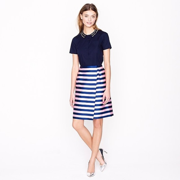 289a2b5658 J. Crew Dresses & Skirts - J Crew Pink Navy Striped Pencil Wrap Skirt Size